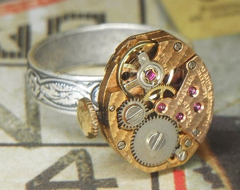 Women's STEAMPUNK Ring Jewelry - Torch SOLDERED - Petite Rose Gold Watch Movement w Textured Surface & Floral Etched Band- Bright Reflective