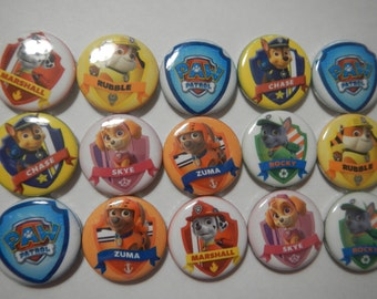 15 Cute Paw Inspired Patrol Character Pinback Button Shower Goody Gift Treat  Party Favors Brooches