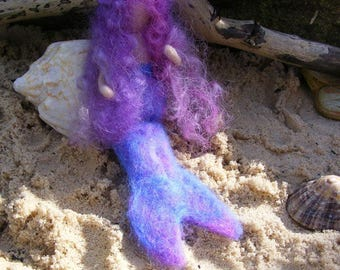 Coral Sea Mermaid - a poseable needle felted mermaid to bring a bit of beach magic to your home.