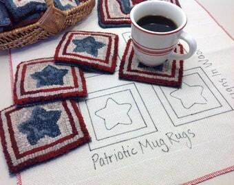 Rug Hooking PATTERN, Patriotic Star Mug Rugs, P125, Patriotic Coasters DIY, Red White and Blue, Americana Mug Rugs