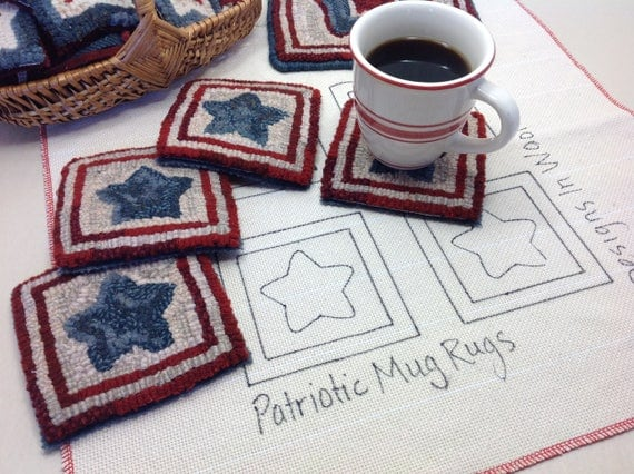 Rug Hooking PATTERN, Patriotic Star Mug Rugs, P125, Patriotic Coasters DIY, Red White and Blue, Americana Mug Rugs