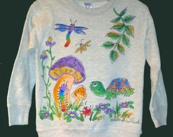 Turtle, Critters, & Mushrooms Sweatshirt or Long-Sleeve T-shirt hand painted for kids