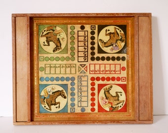 French Vintage cards- wooden board  checkers game horse game ephemera,paper craft