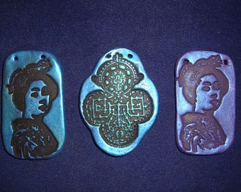 Lot of 3 Polymer Clay Imprinted Pendants