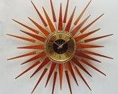 Starburst Clock by Seth Thomas, Mid-Century Modern 1970s Starflower Sunburst Wall Clock, Solid Teak Rays.