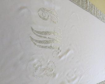 Monogram Rhinestone Custom Made White  Gabardine Aisle Runner 25  ft with Silver Rhinestone Sparkle border  36 inches wide