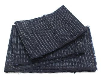 Hand Loomed Antique Cotton Scrap. Japanese Kasuri Kagasuri Ikat. Dark Indigo Blue Black. (Ref: 1598E)