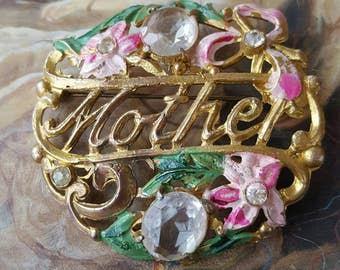 VINTAGE Gorgeous floral MOTHER Mothers Day Rhinestone Enamel Pin Brooch