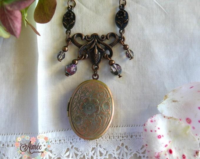 oval locket necklace, vintage locket necklace, dangles, photo locket necklace, memory locket, ornate locket necklace, antique copper locket