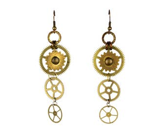 Golden Gears STEAMPUNK Earrings