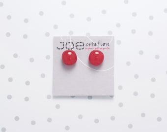 Boucles d'oreilles rondes en verre fusionné et acier inoxydable rouge
