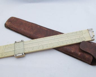 Sun Hemmi Slide Rule and Leather Case Bamboo Model 153 Electrical Engineer Made in Japan. Free US Shipping- FL