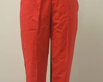 SALE Vintage 1950s Early 60s Cigarette Pants High Rise Red Small