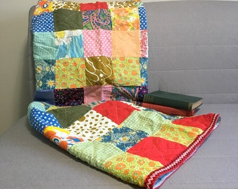 Vintage patchwork lap quilt - scrap squares of prints from the 1950s and 1960s - handmade