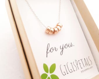 Rose Gold and Silver Necklace - Rose Gold Necklace - Rose Gold Wedding - Minimalist Necklace - Layering Necklace - Sterling Silver Necklace