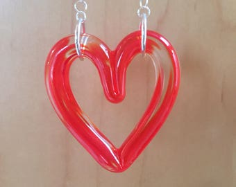 Cherry Red Glass Heart Necklace