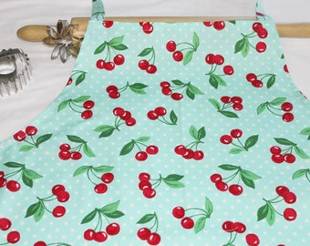 Plus Size Retro Cherries on Aqua Apron