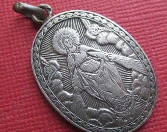 On Sale Angels With The Virgin Mary Antique French Silver Religious Medal Pendant   SS524