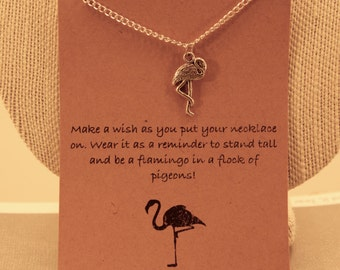 Flamingo Necklace: Be a Flamingo Charm Necklace, Wish Necklace, Wish Jewelry, Best Friends, Friendship Necklace, Motivational