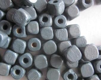 Dark Gray Wood Cube Beads 5x5mm 20 Beads