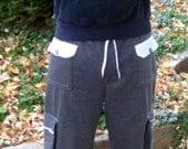Mens Pants Made To Order Cargo Loose Fit Adjustable Waist Menswear Mens Shorts Black