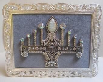 Jeweled Framed Jewelry Menorah Silver Gray Pearls Fabulous