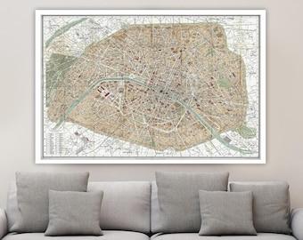 Old Map Of Paris Etsy - Restoration hardware paris map