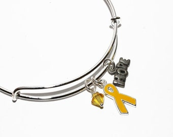 Yellow Ribbon Awareness Bangle Charm Bracelet: Sarcoma/Bone Cancer, Soldier support, Spina Bifida, Missing Children, Bladder Cancer