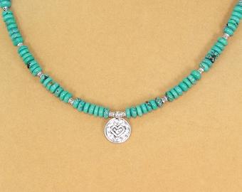 Turquoise necklace, heart pendant, hypoallergenic jewelry, genuine turquoise