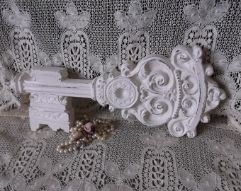 Painted Vintage 1970s Shabby White ceramic wall key