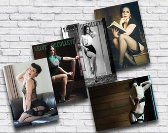 Pinup Postcard Set, Sexy Vintage Mini - Prints of Boudoir Model Velvet DeCollete