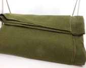 Wool Blanket US Marked Army Style Olive Green Camp Cover