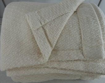 Woven Cotton Blanket Cover Throw Bedspread Bone Off White Ecru