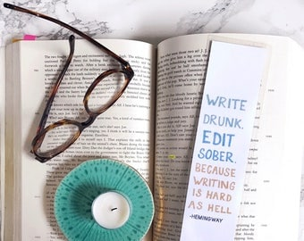 Paper Bookmark. Literary Gift. English Teacher. English Major Gift. Book Lover. Funny Bookmarks. Hemingway Quote.
