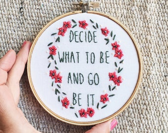 Hand embroidered song lyrics Avett Brothers embroidery hoop art wall decor home decor gallery wall floral graduation gift nursery