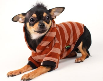 Dog Clothes Black Mohawk Hoodie for Dogs Brown and Tan stripes Clothes for Pets
