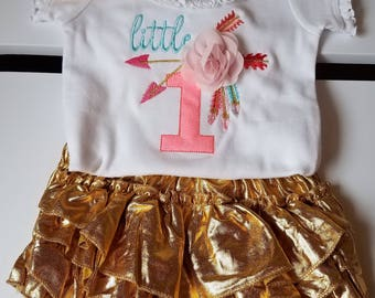 little 1 baby girls first birthday onesie with gold, ruffle butt bloomers and matching headband boho chic aztec feathers
