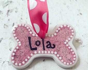 Pink Glitter Dog Bone Ornament (Personalized)