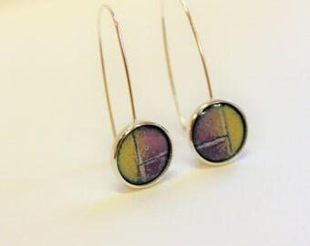 Sterling silver enamel abstract earrings vitreous enamel jewelry fired on silver sgraffito dangle earrings drop earrings