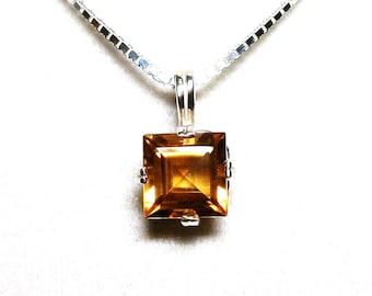 """AAA Citrine, aaa citrine pendant, princess pendant, citrine pendant,  orange pendant, sterling silver,     """"Liquid Sunshine"""""""