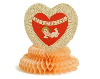 Valentine's Day Decor, Cupid Decoration, Vintage Beistle Valentine, Honeycomb Centerpiece