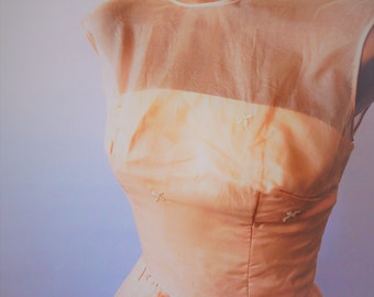 Vintage 1950s Pink Party Dress Jr. Flair Sz XS Built in Crinoline
