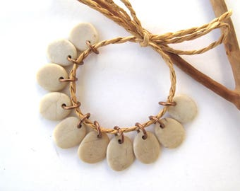 River Stone Beads Small Rock Jewelry Charms Mediterranean Beach Stone River Stone Natural Stone Pairs Tiny CREME CHARMS 15-16 mm