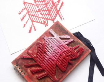 leaf print art print mono print art notebook sketchbook scrapbook book artist gift craft folder handmade sketchbook handmade print