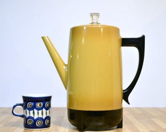Retro West Bend Company 9 Cup Automatic Percolator Made in the USA Harvest Gold Yellow