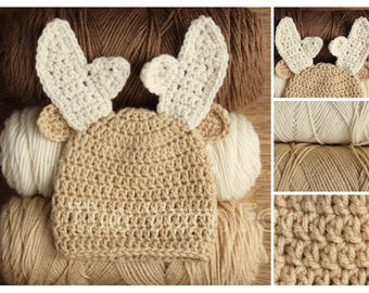 Deer Hat- Newborn, Infant, and Toddler Sizes