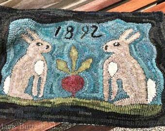 Hilda and Mabel's Prize Winning Beet Rug Hooking Pattern on Linen or Paper