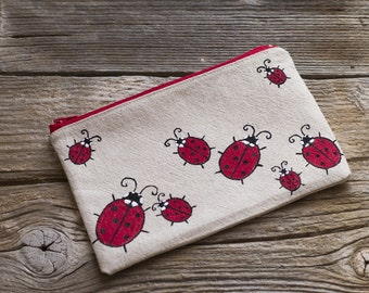Ladybirds Cosmetic Bag, Linen and Cotton Hand Painted Ladybugs Zipper Pouch