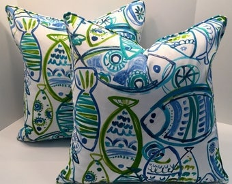Fish Outdoor Pillow Cover in Plenty in the Sea with Piping