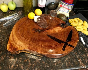 End Grain Chopping Block Chef Gift wood burned chef knives crossing